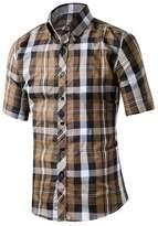 Honghu Men's Short Sleeve Button Down Cotton Plaid Casual Shirts Size 3X-L