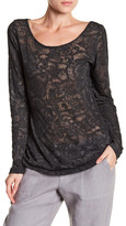Allen Allen Drape Back Burnout Lace Shirt