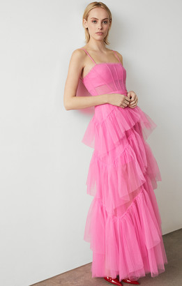 BCBGMAXAZRIA Oly Tiered-Ruffle Tulle Gown