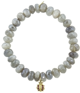 Sydney Evan Lady Bug Charm on Moonstone Beaded Bracelet