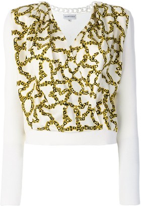 Carven link print envelope blouse
