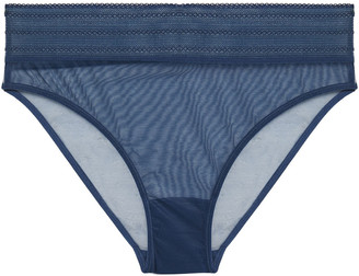 ELSE Bare Stretch-tulle Mid-rise Briefs