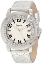 Freelook Women's HA1812-4 Silver Leather Band Vertical Brushed Silver Dial Silver Case Watch