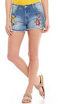 Blu Pepper Floral-Embroidered High Rise Frayed Hem Denim Shorts