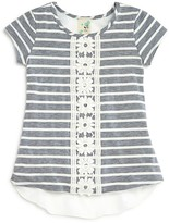 Lily Bleu Girls' Crochet Trimmed Striped Tee - Sizes 2-6X