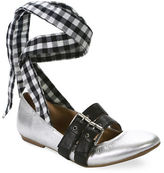 Luxury Rebel Sari Gingham Lace-Up Leather Ballet Flats