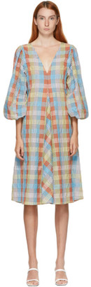 Ganni Multicolor Seersucker V-Neck Check Dress