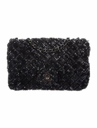 Chanel Sequin Medium Single Flap Bag Black