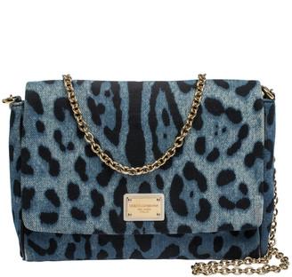 Dolce & Gabbana Blue Leopard Printed Denim Shoulder Bag
