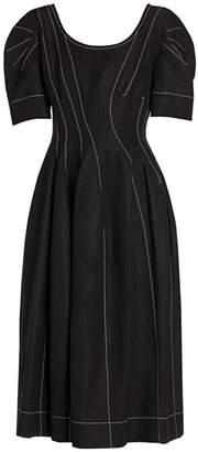 Marni Puff Sleeve Contrast Stitch Midi Dress