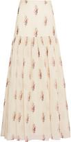 Vilshenko Trudy floral-print silk-organdy maxi skirt