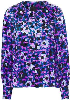 Anna Sui Floral-print Hammered Silk-satin Shirt
