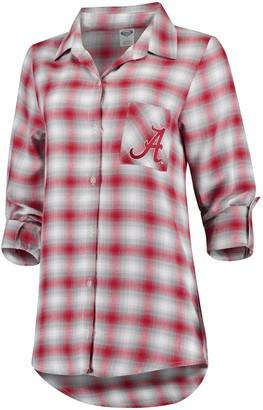 Women's Concepts Sport Crimson/Gray Alabama Crimson Tide Forge Rayon Flannel Long Sleeve Button-Up Shirt