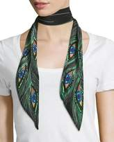 Altuzarra Peacock Eyes Super Skinny Silk Scarf, Black