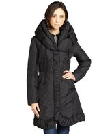 T Tahari black down filled 'Marianna' ruched trim coat