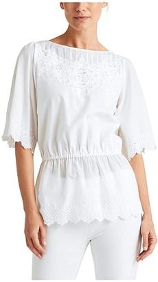 Lauren Ralph Lauren Embroidered Cotton Voile Top (White) Women's Clothing