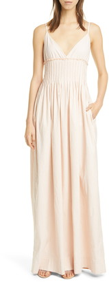 A.L.C. Cicely Pintuck Linen Blend Maxi Dress