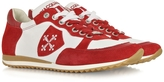 D'Acquasparta D'Acquasparta Pisa White Leather and Red Suede Sneaker