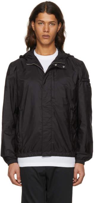 Prada Black Nylon Hooded Zip Jacket