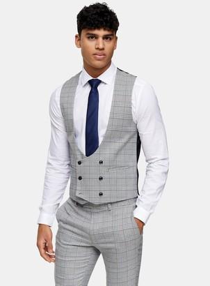 Topman Grey Check Skinny Fit Suit Waistcoat