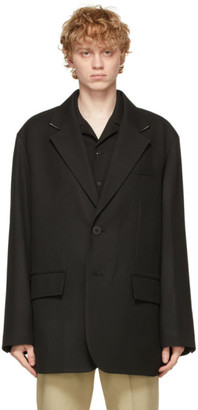 Solid Homme Black Wool Oversized Blazer