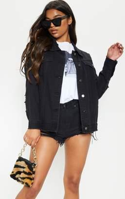 PrettyLittleThing Mid Wash Aymeline Distressed Denim Jacket