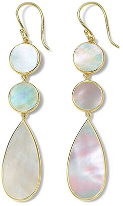 Ippolita 18kt yellow gold Polished Rock Candy double dot and teardrop mother-of-pearl earrings