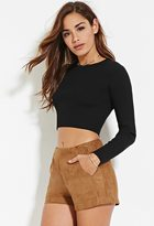 Forever 21 Faux Suede Buckled Shorts