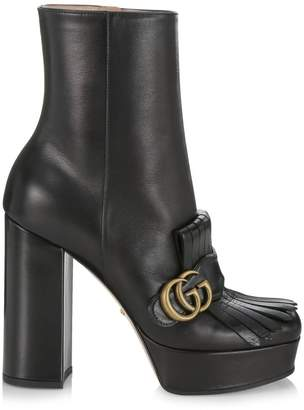 Gucci Leather Platform Ankle Boots with Fringe