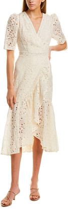 Rebecca Taylor Clover Eyelet Silk-Blend Wrap Dress