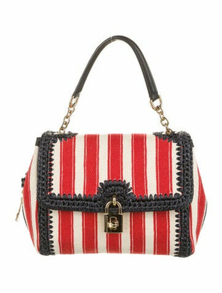 Dolce & Gabbana Raffia-Trimmed Canvas Satchel Red