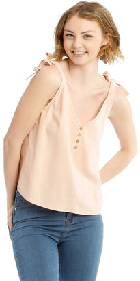 Miss Shop Button Through Linen Blend Tie Cami
