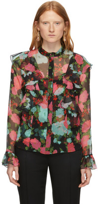 Erdem Black and Pink Giralda Blouse