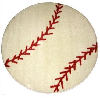 LA Rug Fun Rugs Fun Time Round Baseball Rug, White/Red