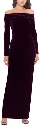 Xscape Evenings Off the Shoulder Long Sleeve Gown