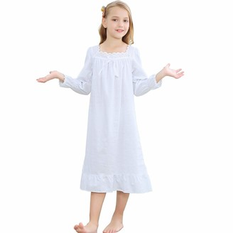 Flwydran Girls Nightgown Long Vintage Toddler Sleep Dress 100% Princess Woven Cotton Nightwear for Girl 140(For Height 130-140 cm)