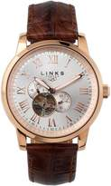 Links Of London Noble Mens Rose Gold Plate & Brown Leather Automatic Watch