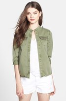 Lucky Brand Embellished Cotton Shirt Jacket