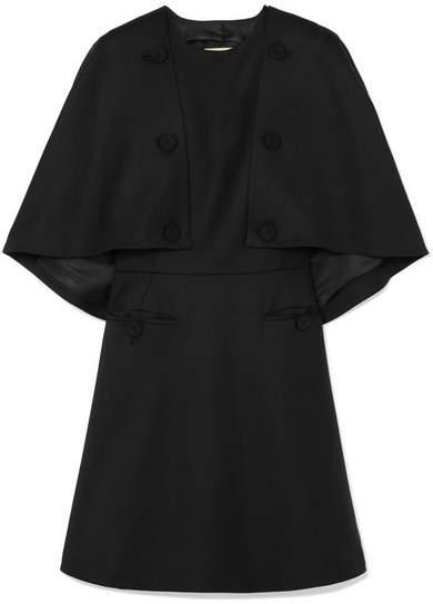 Sara Battaglia Cape-effect Wool-blend Twill Mini Dress - Black