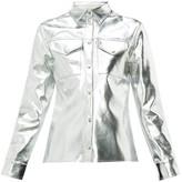 MSGM Metallic Faux-leather Shirt - Womens - Silver