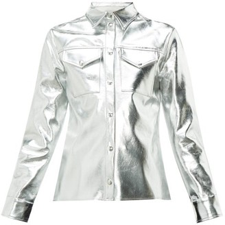 MSGM Metallic Faux-leather Shirt - Womens - Silver
