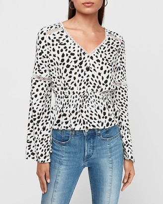 Express Spotted Jacquard Lace Inset Bell Sleeve Peplum Top