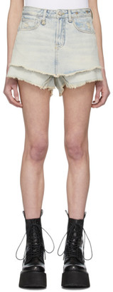 R 13 Blue Double Layer Denim Shorts