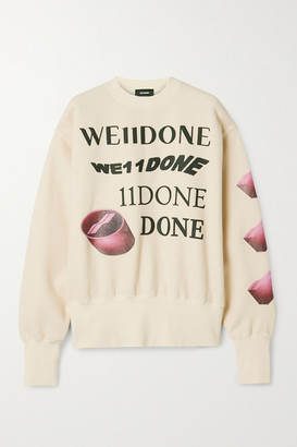 we11done Oversized Printed Appliqued Cotton-blend Jersey Sweatshirt - Cream