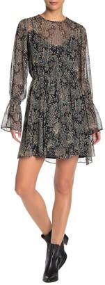 Joie Manning Metallic Paisley Bell Sleeve Chiffon Dress