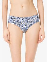 Michael Kors Floral-Print Shirred Bikini Bottoms