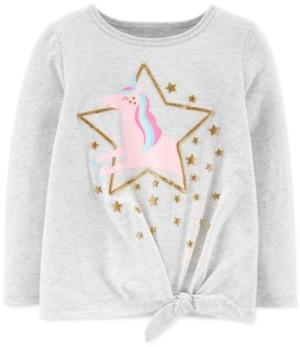 Carter's Toddler Girls Glitter Unicorn-Print Tie-Front Cotton T-Shirt
