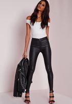 Missguided Tall Wet Look High Waisted Skinny Jeans Black
