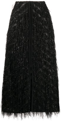 Dorothee Schumacher Fringed Chevron Midi Skirt
