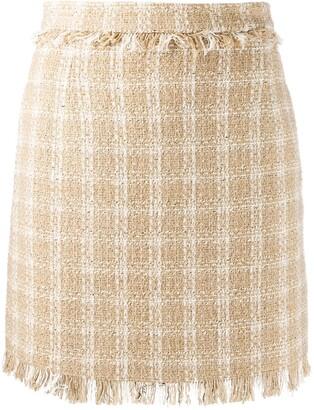 MSGM Fringed Check Skirt